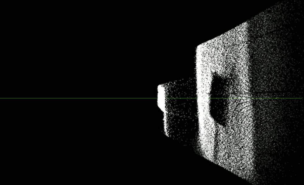 Raw depth data pictured from the side.
