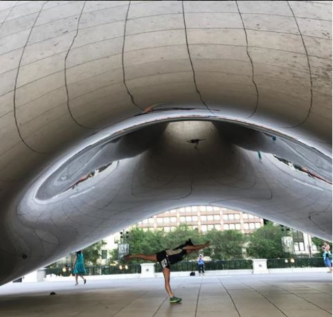 yoga under The Bean.JPG