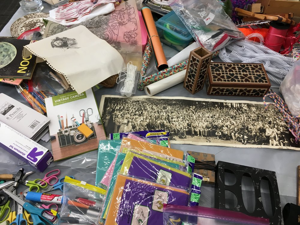 For this program, Pebworth returned to Recology SF to source a sampling of recycled materials for participants to incorporate into collaged creations.