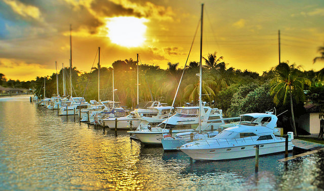 Boats along the historic New River of downtown Fort Lauderdale