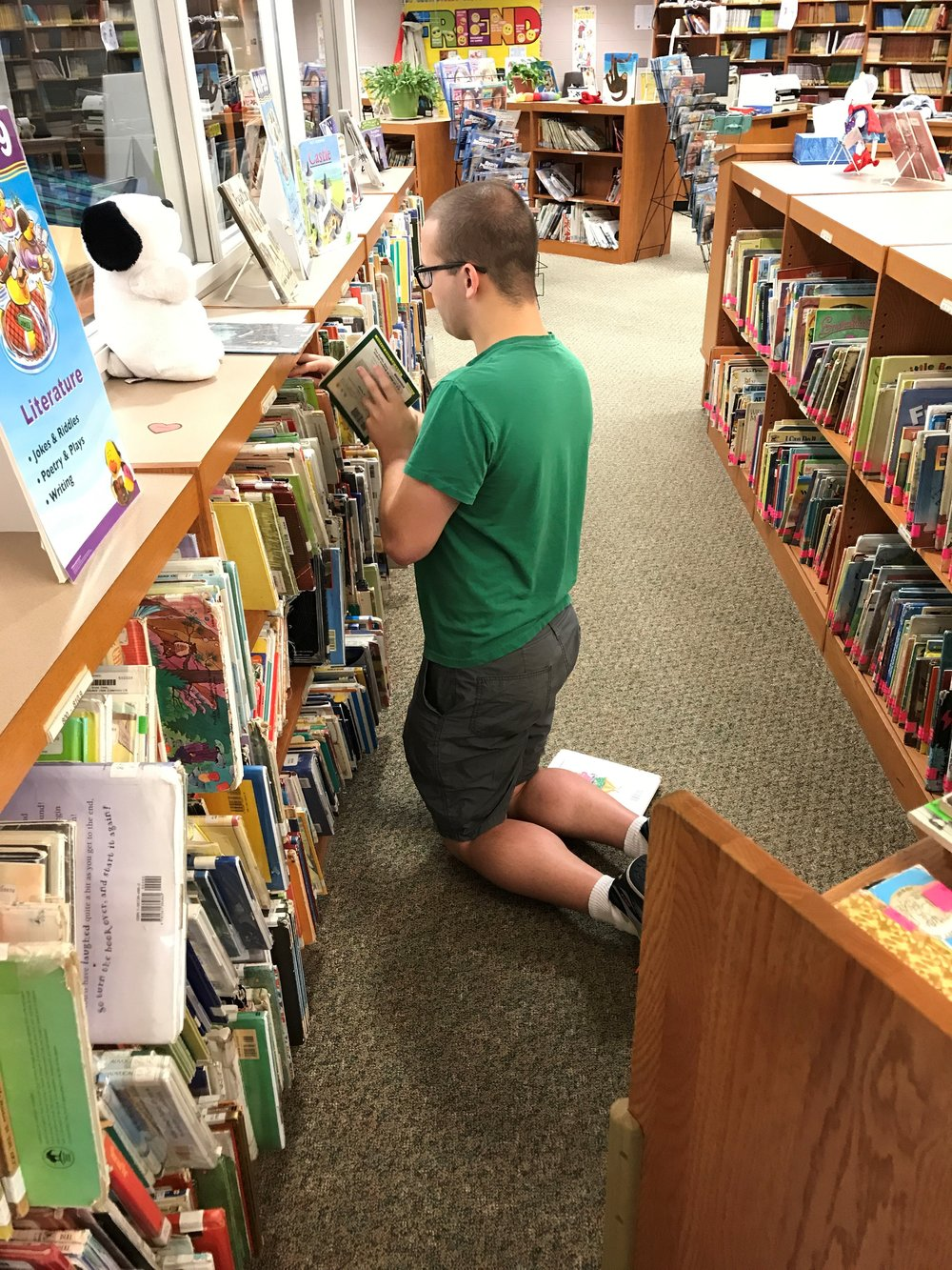 Trevor volunteering at the Library