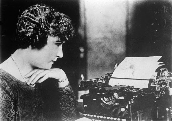 "Beulah Henry in 1929 with her ""protograph,"" a device that could be attached to a typewriter to produce an original and four typewritten copies without carbon paper."