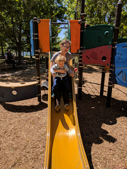 The author and her son on the playground.