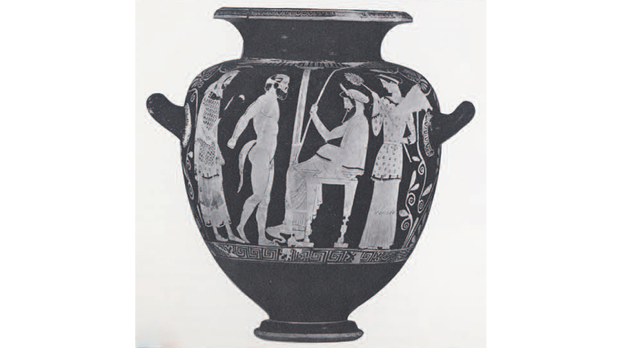 On the above attic vase painting from the 5th-century B.C., the seated figure is Midas the great king and in front of him stands the satyr Silenus.**