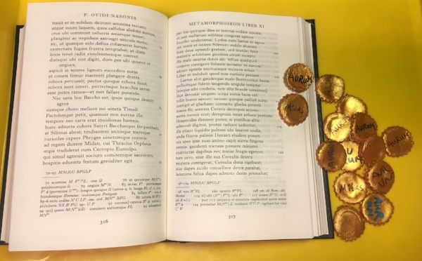 Photo of the Midas-coin activity alongside Ovid's text.