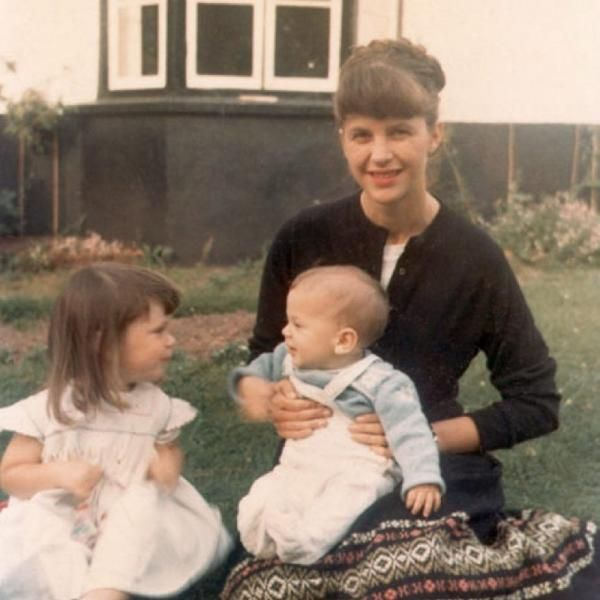Plath with her two children, early 1960s.