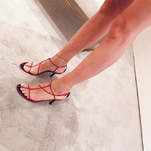 Celine Nude Sandals  Available in:  Red: size 38, 40.5  Black: size 41  For all other sizes, the waitlist is open.