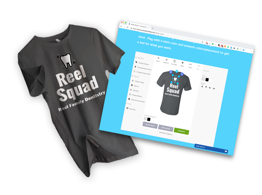 The online design studio is a great way to bring your next t-shirt idea to life! Use it as a tool to give us an idea of what you have in mind! -