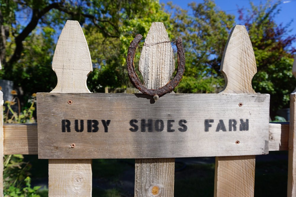 "Named for the ruby shoe we found when tilling in the new garden, and because there really is ""no place like home""."