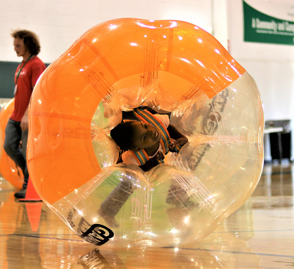 Bubble soccer was just one of the games kids played in our Game On! camp.