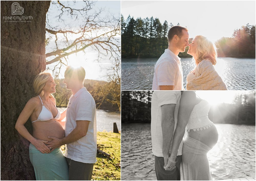 Couple posing for maternity photos in front of a tree and on a dock in front of a lake in the summer.