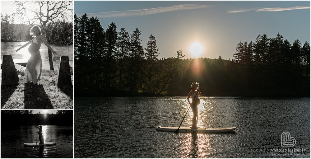 Pregnant woman paddle boarding in Camas Washington for her maternity photos.
