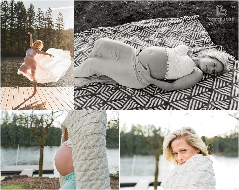 Pregnant woman posing for maternity photos in front of a lake and on a dock in a dance pose in Camas Washington.