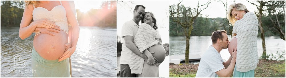 Maternity photo of couple posing on a dock and in the yard in front of a lake with the sun in the background.