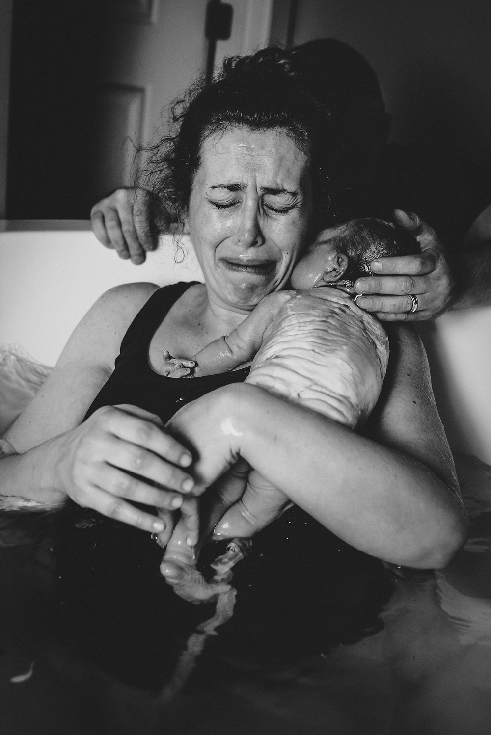 Mother emotional after water birth