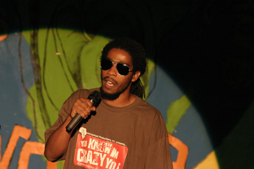 Thaddeus performing at a Nu World Comedy Show in 2004