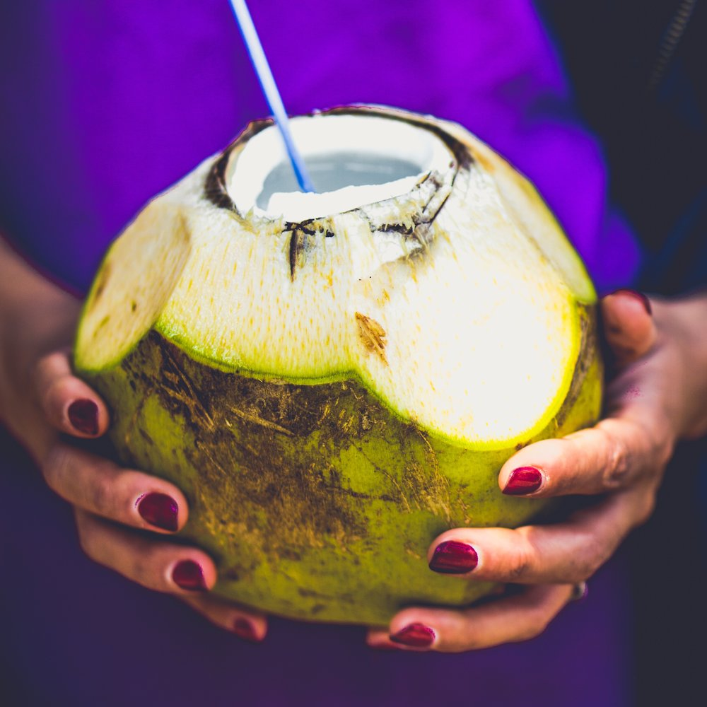 1.Coconut Water - Full of natural electrolytes, pour this refreshing water on the rocks and enjoy.