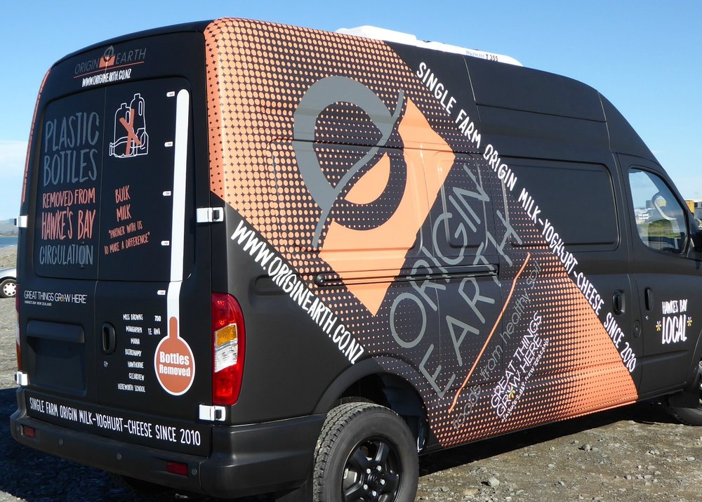 Our multi-purpose van - look for it delivering milk to    Our Waste Reduction Partners    and at venues such as the    Hawke's Bay Farmers' Markets   .