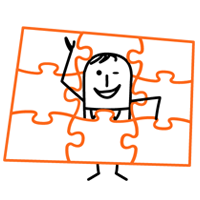 FoundHuman mascot acting as a puzzle piece in a puzzle