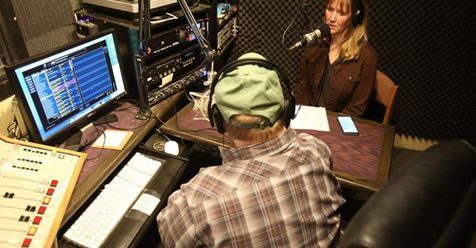 Rick and Lynn in the studio on KPOV's Center Stage