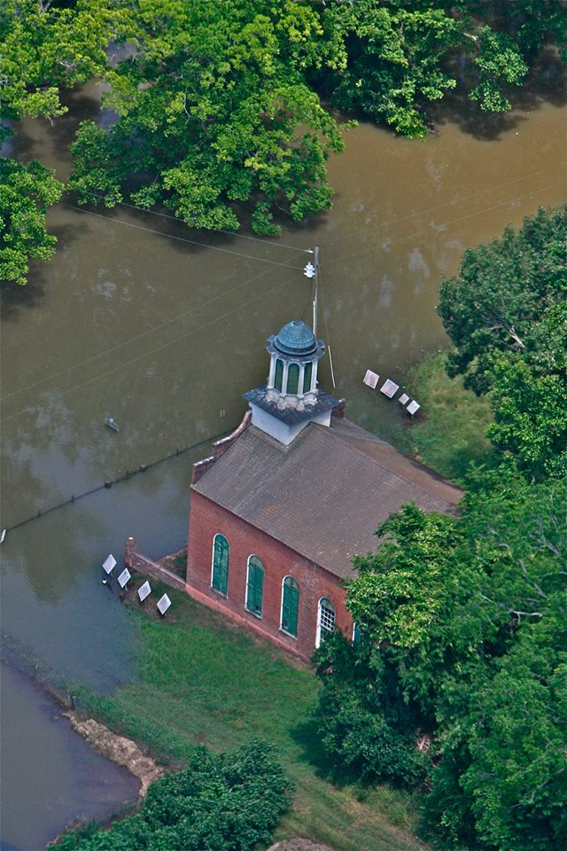 Aerial image of the 2011 flood over Rodney Presbyterian Church. Image from WJTV.