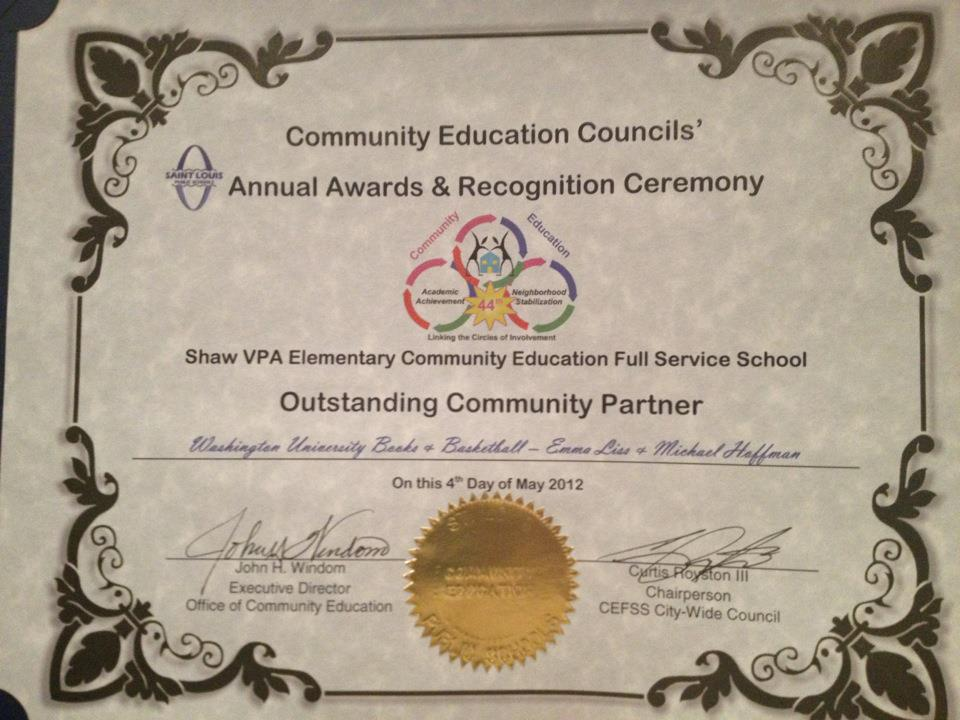 Recognition as an Outstanding Community Partner - by the Community Education Council on May 4, 2012