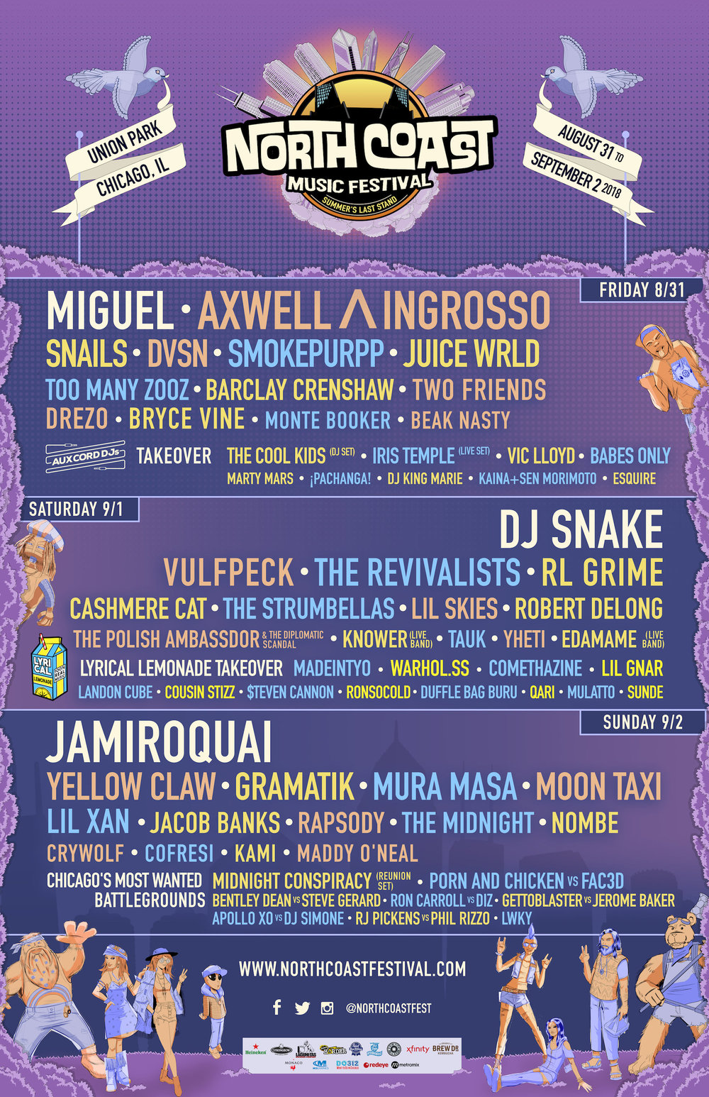 Flash ticket giveaway! North Coast Music Festival (Aug. 31- Sept. 2) - Huge Opportunity ( GA ticket with a +1. Click lineup photo for details on entry!)