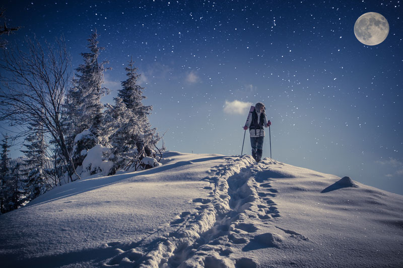 Snowshoeing is a great activity, full moon or not...but just look at this beautiful scene? I know I'll be up there for the experience. Image Courtesy: Squarespace.com