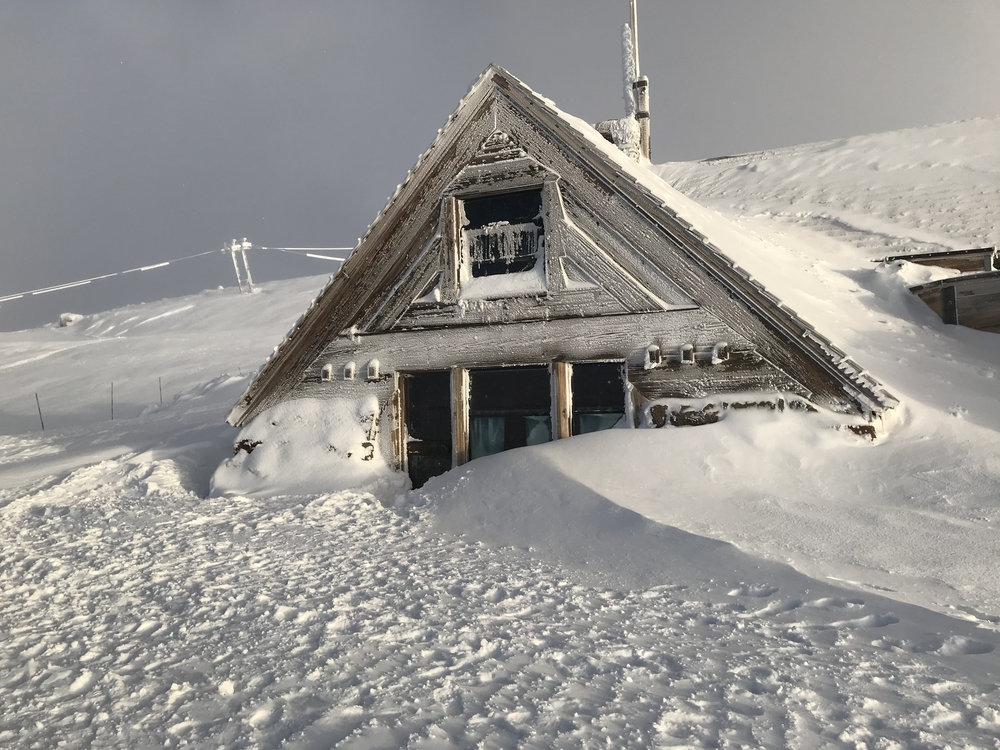 A closer look at the historic Silcox Hut...what an amazing place to spend the night, drink, eat great food, play guitars, etc. Doesn't get much better. Image Courtesy: Dan Meyers