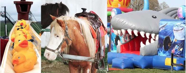 Bouncy houses and games galore for the younger folks (and the younger at heart ;). Image Courtesy: woodenshoe.com