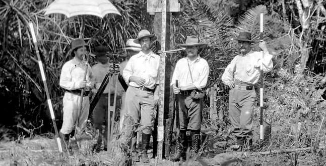 Colonel Percy Fawcett (second from the left in the foreground) and other members of his party while on a mapping expedition in the Amazon Basin, circa 1916. Image Courtesy: Adventure Journal