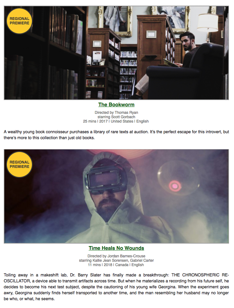 Just two of the 35 short films showing during the festival. Both look quite interesting. A full list of film can be found  here  (or via the link below). Image Courtesy: HPLFilmFestival.com