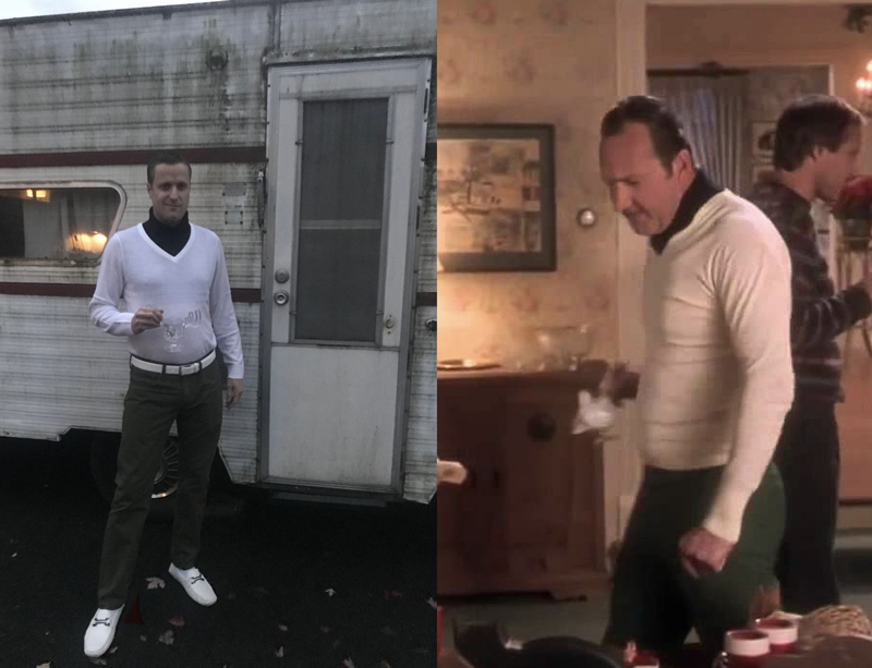 From the white, leather shoes to the Dickie's brand false turtle neck….well…Brandon Simchuk does Cousin Eddie proud here. Way too much fun! Images Courtesy: J. Simchuk & Warner Bros.