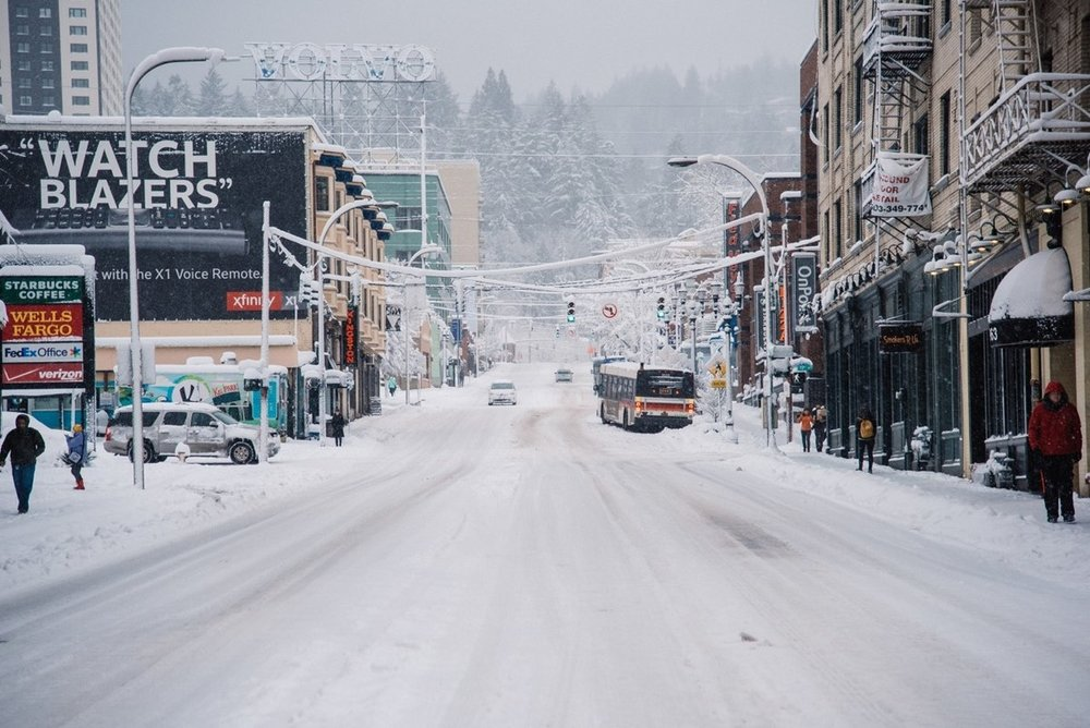 Snowy West Burnside in February of 2018…oh so fun! Image Courtesy: Wweek.com