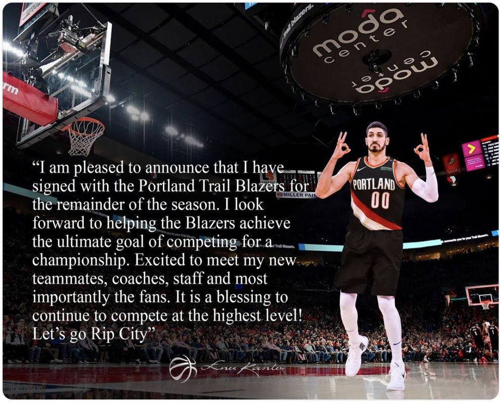 Here is a post that Enes Kanter put on his Twitter account after signing with the Portland Trailblazers. So darn cool. Image Courtesy: ESPN.com