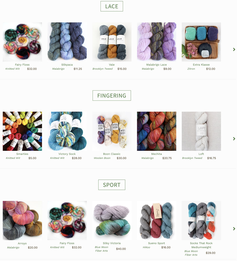 Just three of several yarn categories on Twisted's website. So many options…. Image Courtesy: TwistedYarnShop.com