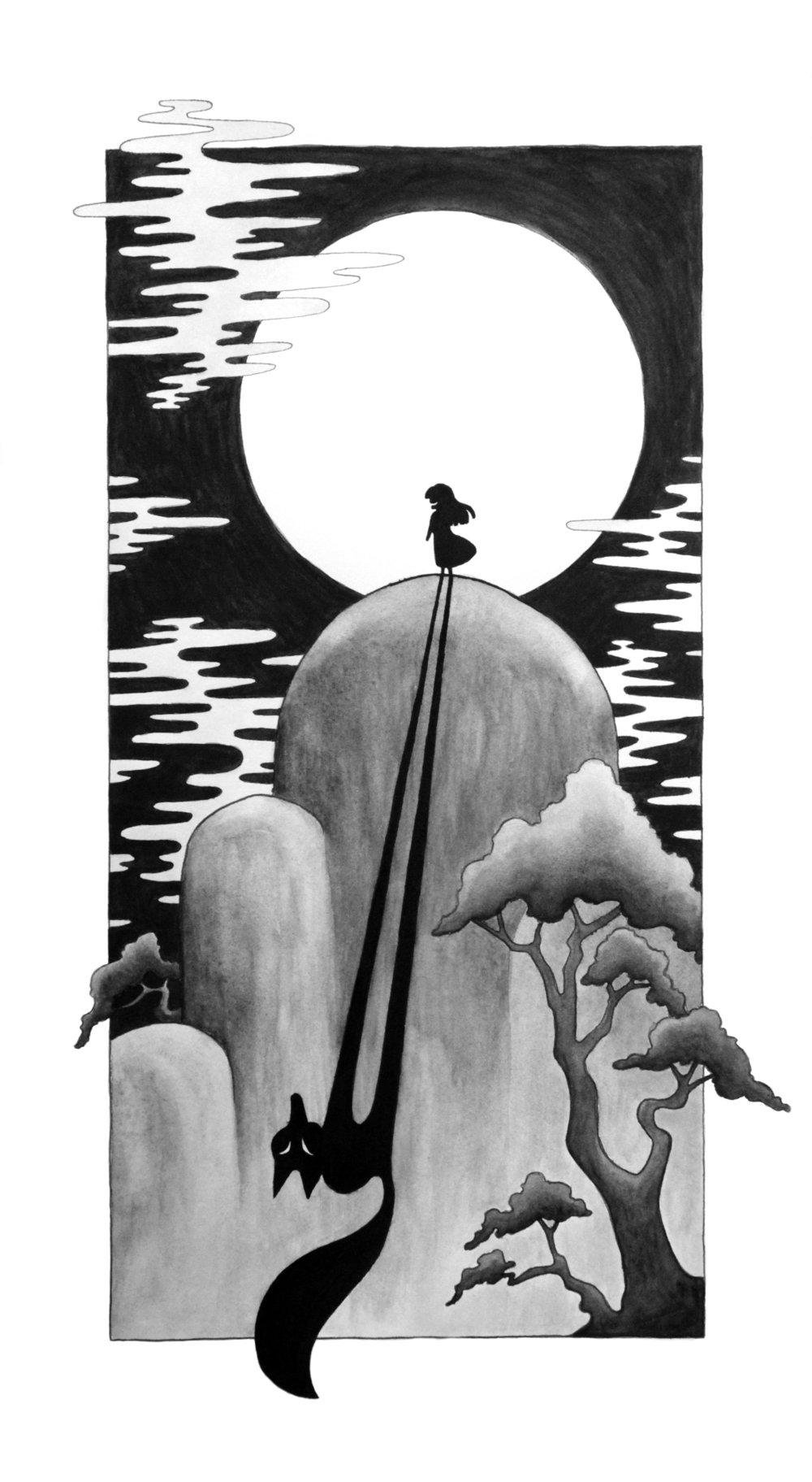 Full Moon Culprit, The Fox Sister, 2017   Pen, Ink & Watercolor