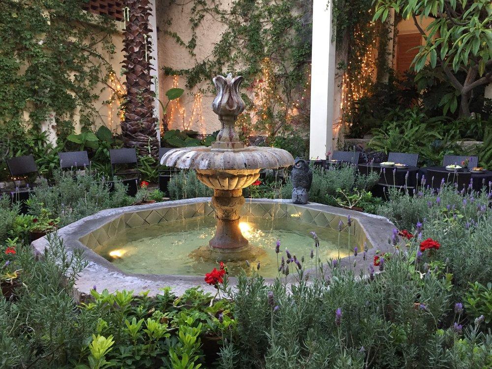 Beautiful courtyard fountain at la casa de la noche in san miguel de allende mexico
