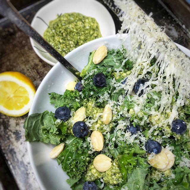 """//KALE SALAD with CASHEW CILANTRO DRESSING RECIPE: 1 bunch curly kale  Blueberries  Marcona Almonds - - DRESSING:  1 cups cashews  2 cloves garlic  Juice of 1 lemon  1 bunch cilantro  2 Tbs ACV  Olive oil  Honey (optional) 1 Tbs Braggs liquid aminos - HOW TO PREPARE:  Add cashews, garlic, cilantro, ACV, lemon and braggs in food processor. As it's running, drizzle olive oil in until you reach your desired consistency. More lemon for a more citrus dressing. Add honey to break the tartness.  ENJOY! - - - I recently just received some very exciting news! I opened my email after a couple days went by after making this salad for the LulaFit Team and it read, """"We loved your presentation (the salad was KILLER) and we are eager to bring you on to the @lulafit Team!"""" One, I am so glad I went with this salad to demonstrate for them! Two, I am now working with the LulaFit Team (based out of Chicago) as the Personal Chef to their clients! I will also be working closely side by side with the team developing fun interactive cooking classes, workshops and more. - I'm excited to teach and show more people how to enjoy healthy food, save time in the kitchen, pick out what foods are best for them and why! My passion for cooking and fueling our bodies with REAL FOOD brings me so much fruition and joy. When you make the true connection that food is medicine, your World changes. I couldn't be more excited and fortunate to work with such an incredible company who put their clients' needs first!"""
