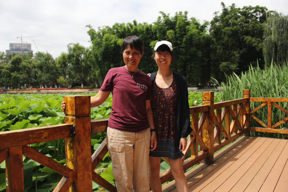 Sunny day at Cuihu lake - gorgeous water lily ponds surrounded by bamboo groves - there were water birds walking on top the lilly pads!