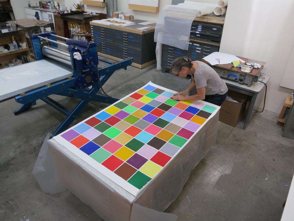 Master Printer Renée Bott working on Spencer Finch's: Back To Kansas, 2016. Color Aquatint print.