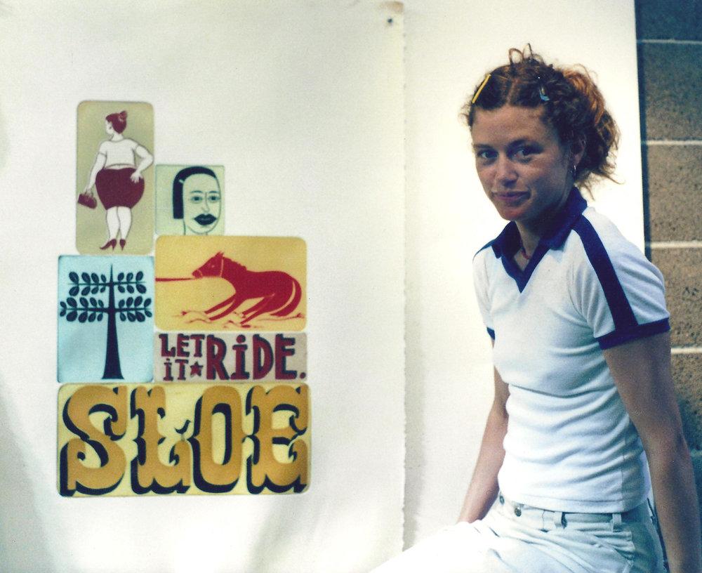 Margaret Kilgallen in the Paulson Press Studio, 1999