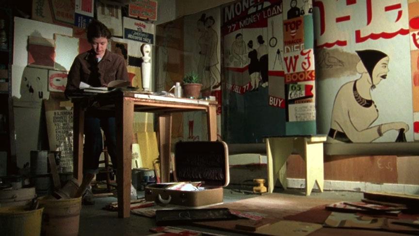 Margaret Kilgallen  in her studio, San Francisco, CA, 2000. Production still from the Art in the Twenty-First Century Season 1 episode, Place . © Art21, Inc. 2001.