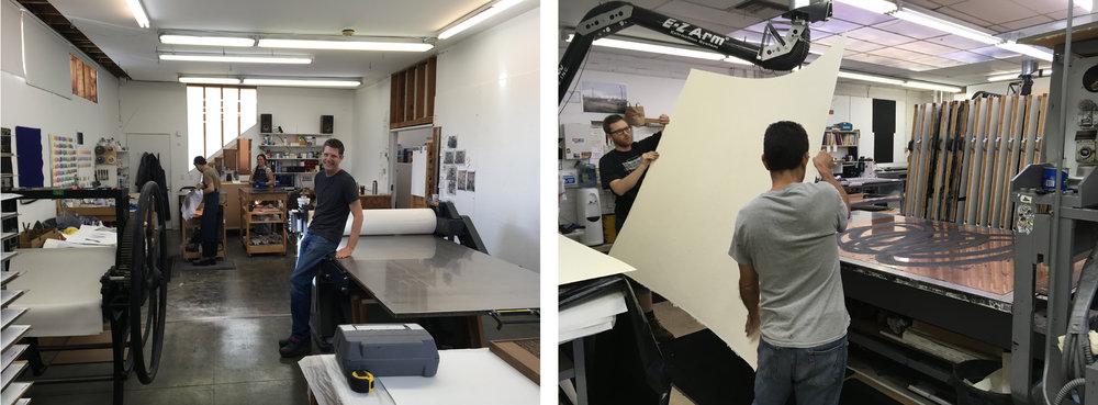 Current Gemini Printers: (right to left) Case Hudson, Amy Jo Toucey, Oliver Dewey-Gartner.  Xavier Fumat, Issac Osher handle paper to print a Richard Serra intaglio.