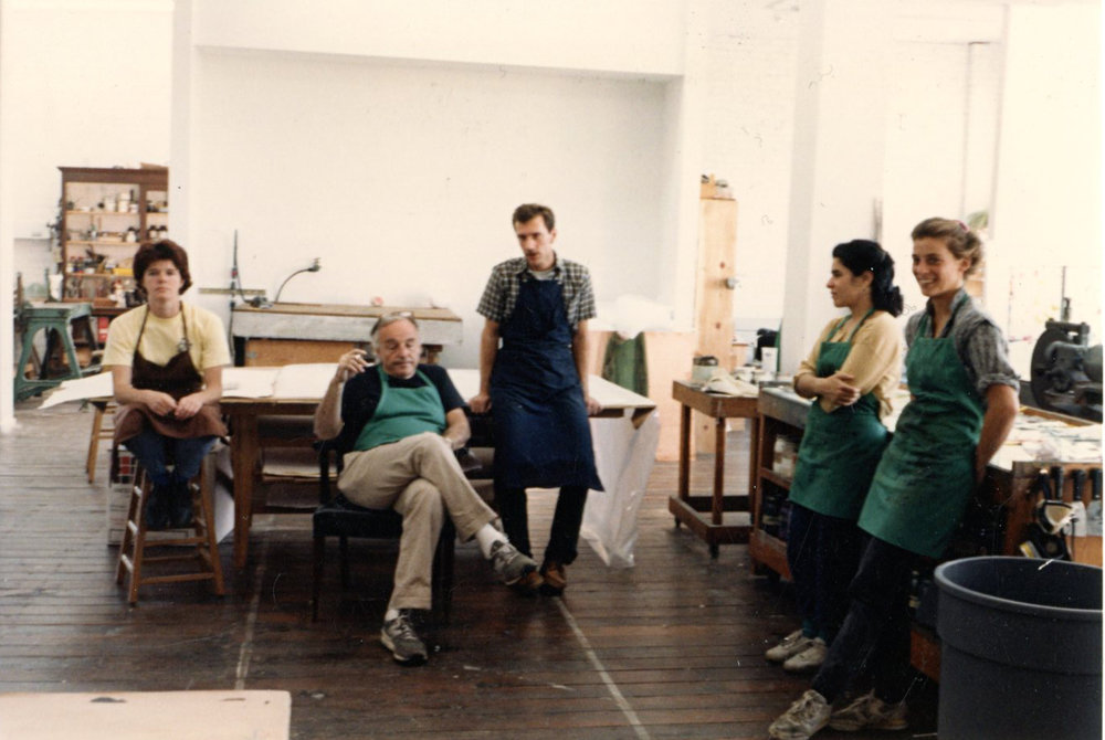 Al Held with with apprentice printer to his left,  and printers to his right: Larry Hamlin, Nancy Anello, and Renee Bott  1986