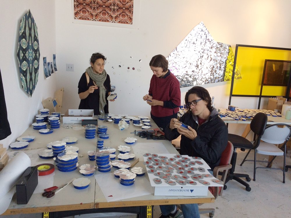 Sanaz Mazinani works with her two assistants: Marie and Ivan at her studio in San Francisco, CA