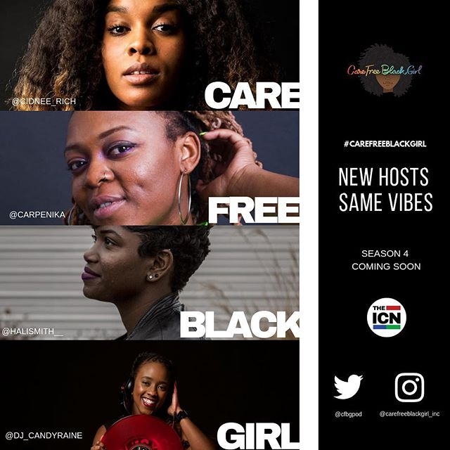 If you haven't heard the news next season #cfbgpod will be in Atlanta!! So let's extend a warm welcome to our new hostesses. Get familiar with these ladies . New Season kicks off in November. Same conversation, new location 💕 @halismith__  @cidnee_rich  @dj_candyraine  @carpenika • Powered by @icndj  #carefreeblackgirl #podsincolor #podcast #atlanta #podcastforwomen #podcastforblackwomen #naturalhairstyles #womenintech