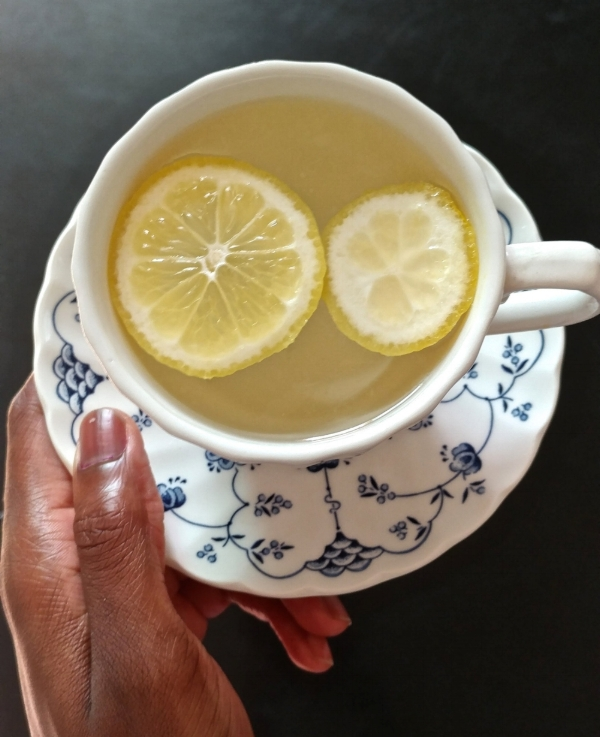 I just feel like hot lemon water flushes my woes away.