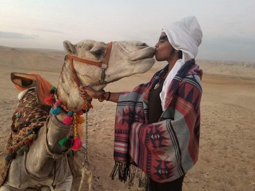 Kala, enjoying a solo adventure in Giza, Egypt