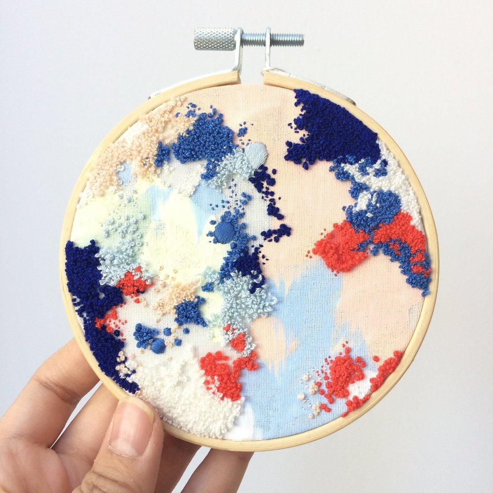 Maricor/Maricar artwork acrylic and embroidery creative crush hoop pink and blue